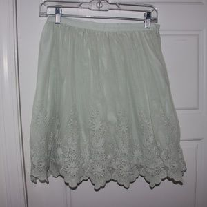 Forever 21 Seafoam Green Lace Detail Skirt